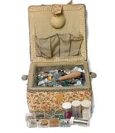Sewing Basket With Sewing Notions by CrowsCottage on Etsy