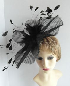 Excited to share the latest addition to my #etsy shop: Ladies Day fascinator/hatinator suitable for a day at the races, wedding, Mother of the bride, garden party https://etsy.me/2riKJyV #bathandbeauty #black #wedding #pleatedcrinoline #fascinator #hatinator #hairband