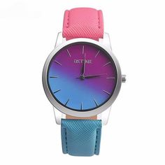 Gradient Colors Casual Wrist Watch - Pink & Blue