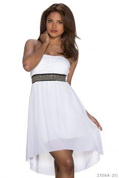 Wit strapless jurkje met zwarte band