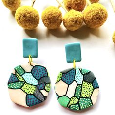 Handmade with polymer clay by Amy Creative, these gorgeous earrings are set to brighten up anyone's day! 💚 ~*~ #amycreative #dangleearrings #earrings #handmadeearrings #handmadejewellery #polymerclayearrings #polymerclay #handcraftedearrings #handcraftedjewellery #statementearrings #polymerclaycreations #earringaddict #theearringlover #earringlove #polymerclaylove #madeitau #handmadeincanberra #handmadecanberra Handmade Jewellery, Handcrafted Jewelry, Earrings Handmade, Handmade Items, Unique Jewelry, Statement Earrings, Dangle Earrings, Crochet Earrings, Polymer Clay Creations