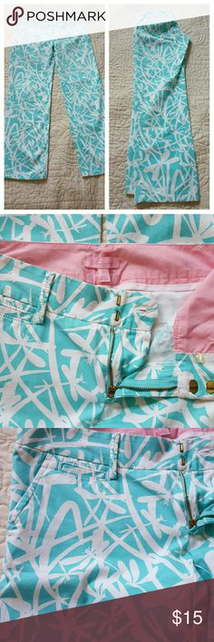 Lilly Pulitzer size 2 pants I love these and they don't fit me,  so I'd love them to go to someone who also loves Lilly! They're size 2 but run big,  for more like a 4. Aqua with white dragon flies. Excellent condition.   From a smoke-free and cat-free home. Lilly Pulitzer Pants