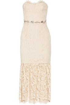 Marchesa Notte Strapless embellished lace midi dress   THE OUTNET