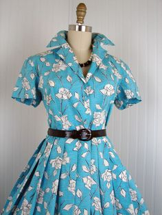 1950s Dress - Vintage 50s French Couture Dress Cotton