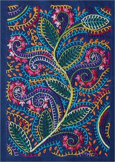 Colorful Vine and Leaf Pattern ~ From La Ruche Des Quilteuses.
