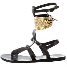 Pre-owned Ancient Greek Sandals Rhodes Gladiator Sandals ($195) ❤ liked on Polyvore featuring shoes, sandals, black, black laced shoes, black gladiator sandals, black leather sandals, gladiator sandals and leather gladiator sandals