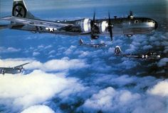 Flying formaion of B-29 Superfortress.