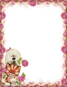 Puppy and Kitten Printable stationery paper Stationary Printable, Printable Paper, Page Borders Design, Borders And Frames, Paper Stars, Paper Frames, Stationery Paper, Note Paper, Writing Paper