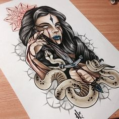 Girl Tattoo Sketch