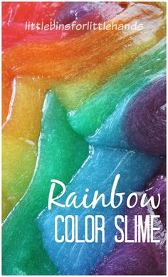 Make this amazing colorful rainbow slime for wonderful sensory play any time of the year. Our colored slime recipe makes a fun slime activity for kids! Science Activities For Kids, Sensory Activities, Sensory Play, Science Experiments, Preschool Activities, Kindergarten Sensory, Rainbow Activities, Sensory Boxes, Educational Activities