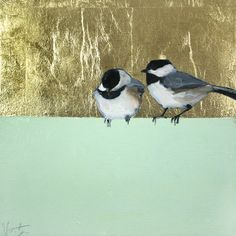 """Loosely"" by Ellen Welch Granter. Oil and Gold Leaf on Canvas, 12""x12"". *SOLD* www.maine-art.com."