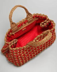 Prada Bi-Color Crocheted Raffia Tote. Basketweave stitch. | DIY ...