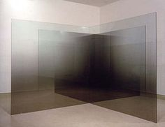 "6x6x4-D,A 1995, four 12mm glass panels coated with nickel-chrome, 6' x 6' x 1/2"" Installation: Galerie Montenay, Paris 1995 Larry Bell"