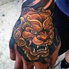 100 Foo Dog Tattoo Designs For Men - Chinese Gaurdian Lions Japanese Hand Tattoos, Japanese Snake Tattoo, Japanese Tattoo Designs, Tiger Hand Tattoo, Hand Tattoos For Guys, Trendy Tattoos, Head Tattoos, Dog Tattoos, Tatoos