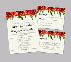 Poppy Wedding Invitations, Watercolor Flower Wedding Suite, Printable Wedding Invites, Orange Wedding, Floral Invitations, Digital by PeekabooPenguin on Etsy