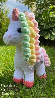 Crochet pattern plush unicorn. Amigurumi pattern crochet unicorn. Crochet unicorn toy for kids. Stuffed animals toys. Crochet Bee, Kawaii Crochet, Crochet Amigurumi Free Patterns, Crochet Animal Patterns, Crochet Blanket Patterns, Cute Crochet, Crochet Dolls, Crochet Stitches, Diy Unicorn