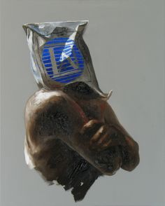 "Xavier Jallais - ""Automorphie au sac Moody's"" - Wood coal, ash, sand, acrylic & oil on canvas, 65 x 81 (cm) Means Of Communication, Vase, Canvas, Wood, Paint, Tela, Madeira, Woodwind Instrument, Flower Vases"