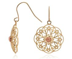 Floral Circle Dangle Earrings in 14K Yellow and Rose Gold #BlueNile