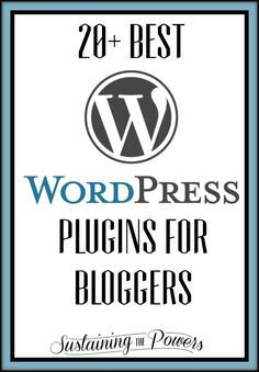 20+ Wordpress Plugins that will help you speed up your blog, streamline your comments, and save you tons of time. I found them and tested them so you don't have to! The Ultimate Pinterest Party, Week 32