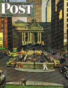 Pershing Square, New York City by John Falter, May 19, 1945, The Saturday Evening Post.