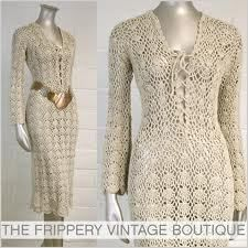 I love Crochet - vtg hippie beige crochet lace up bell slv dress Vintage Crochet Dresses, Crochet Skirts, Crochet Lace Dress, Crochet Tunic, Freeform Crochet, Crochet Clothes, Knit Dress, Vestidos Fashion, Crochet Woman