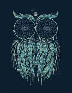 that's a tattoo idea! way cool. two dream catchers and an owl at the same time.