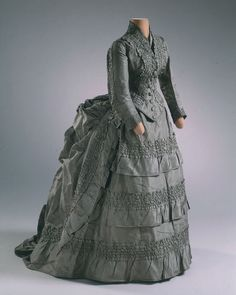 Wedding Dress  c.1874  (Front View) From The Hillwood Estate