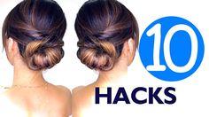 10 LAZY Girls Hair ROUTINE HACKS & Summer Hairstyles! #hairstyle #mediumhair #longhair #easy #updos