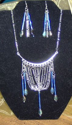 Jewelry / Necklace and Earrings / Handmade set/ Chains and blue glass   $35.95