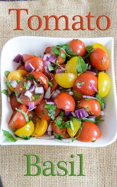 This fresh tomato basil salad is perfect for light summer meals! This recipe is low fat, vegan, paleo and whole30 approved!