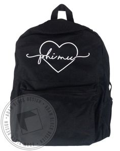 Phi Mu Heart Backpack by Adam Block Design | Custom Greek Apparel & Sorority Clothes | www.adamblockdesign.com
