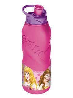 Suloinen Prinsessat-juomapullo kulkee näppärästi mukana paikkaan kuin paikkaan.  Vetonokan ansiosta pullosta on helppo juoda. Pullon vetoisuus on 400 ml.