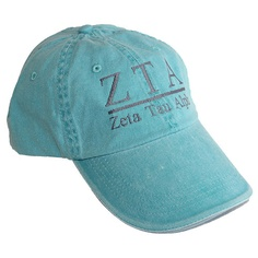 Turquoise hat with ZTA Zeta Tau Alpha embroidered in gray ce867f6e9678