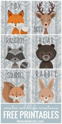 This free set of printable winter woodland creature art is versatile and adorabl.This free set of printable winter woodland creature art is versatile and adorable. Use it as a gift tag, nursery decor, banner, and more. Forest Creatures, Forest Animals, Woodland Creatures Nursery, Woodland Creature Baby Shower, Woodland Theme, Woodland Nursery Decor, Woodland Art, Animal Decor, Nursery Art