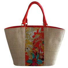 Bolsa em Palha Grande com Estampa Floral Laranja com Metais, bolsa grande para praia ou cidade, combina com vários looks, versátil. Flores