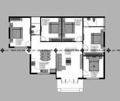 BIỆT THỰ 1 TẦNG MÃ SỐ BT1-052 - Công ty cổ phần tư vấn kiến trúc xây dựng Nhà Phương Đông Beautiful House Plans, Beautiful Homes, Small Bungalow, Bungalow Ideas, 1 Story House, Home Design Plans, My Dream, My House, Building A House