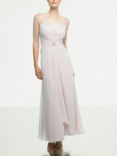 Charming Double Sleeves Brooch Mother of the Bride Gown Chiffon V Neck Mother Gown