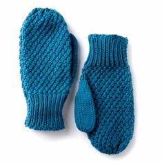 Textured Family Knit Mittens FREE knitting pattern in Caron One Pound - get the downloadable PDF from Loveknitting