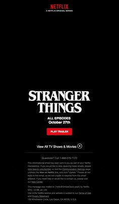 Coming Friday, October Stranger Things 2 - Really Good Emails Email Template Design, Email Newsletter Design, Email Newsletters, Email Templates, Email Design, Wordpress Template, Web Design, Graphic Design, Email Marketing Design