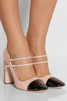 Block heel measures approximately 100mm/ 4 inches Blush and black patent-leather Buckle-fastening straps