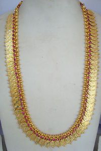South Indian Traditional Jewellery pink stone Lakshmi Kasu mala with earring