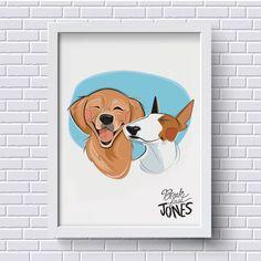Custom pet portrait, digital pet illustration, pet portrait from photograph, pet caricature, gift for pet lover, pet memorial, pet loss gift