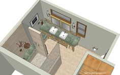 We did total redesign of this master bathroom in Everett - 3D rendered drawing