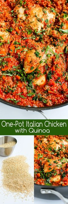 In this easy recipe, Italian flavored chicken, quinoa and tomato sauce come together in one pot for a healthy meal with minimal clean-up. 264 calories and 5 Weight Watchers SmartPoints paleo crockpot indian Chicken Quinoa Recipes, Cabbage Recipes, Turkey Recipes, One Pot Meals, Easy Meals, Clean Eating, Healthy Eating, Think Food, Italian Chicken