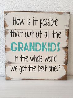 """How is it possible that out of all the GRANDKIDS in the whole world we got the best ones 13""""w x14""""h hand-painted wood sign"""