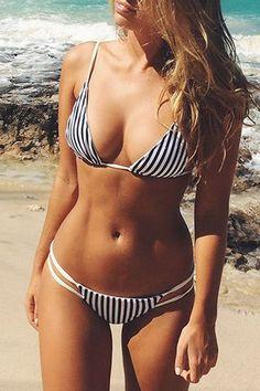 Spaghetti Strap Stripes Bikini Set: Swimwear | ZAFUL