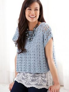 Yarnspirations: Caron Casual Summer Top -  Free Crochet Pattern. Aran weight yarn. Sizes S - 4X.