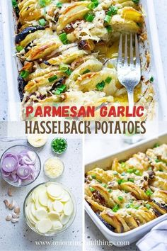 Hasselback Potatoes with Parmesan and Roasted Garlic is your next favorite side dish! With meaty potatoes and loads of garlic and Parmesan flavor, they're sure to be a dinner hit! #sidedishes #roastedpotatoes #weeknightdinners Potato Side Dishes, Side Dishes Easy, Vegetable Side Dishes, Vegetable Recipes, Vegetarian Recipes, Side Dish Recipes, Easy Dinner Recipes, Easy Meals, Dishes Recipes
