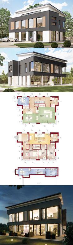 Stadtvilla Concept-M 188 Wuppertal Bien Zenker - Haus bauen mit Pultdach Grundriss modern offen - HausbauDirekt.de