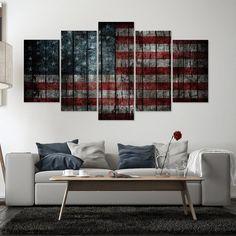 e39ef229d31 5 Panel Distressed American Flag Canvas Wall Art Panel Print Living Room